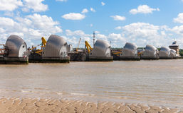 Thames Barrier in London. The Thames Barrier - movable flood barrier in eastern London, United Kingdom Stock Photos