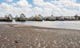 Thames Barrier in London. The Thames Barrier - movable flood barrier in eastern London, United Kingdom Royalty Free Stock Photos