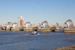 Thames Barrier, London. The Thames Barrier is a movable flood barrier in the River Thames east of Central London Royalty Free Stock Photography