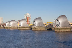 Thames Barrier, London. The Thames Barrier is a movable flood barrier in the River Thames east of Central London Royalty Free Stock Photos
