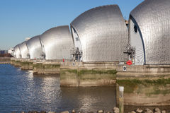 Thames Barrier, London. The Thames Barrier is a movable flood barrier in the River Thames east of Central London Royalty Free Stock Image