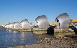 Thames Barrier, London. The Thames Barrier is a movable flood barrier in the River Thames east of Central London Stock Photo