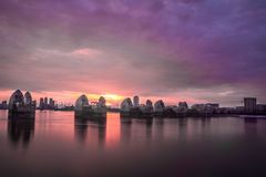 Thames barrier London. London's Thames barrier at golden hour Royalty Free Stock Photo