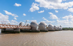 Thames Barrier in London. The Thames Barrier -  side view of movable flood barrier in eastern London, United Kingdom Stock Photo