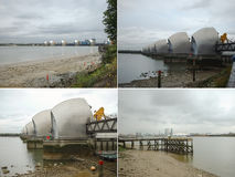Thames Barrier in London, UK. The Thames Barrier movable flood barrier in the River Thames east of Central London to prevent the floodplain from being flooded by Stock Images
