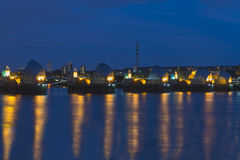 Thames Barrier in London UK, at night. Thames Barrier, the world's second largest movable flood barrier which protects London from environmental flooding -  at Stock Photography