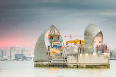 Thames Barrier London. Thames Barrier is the world's second largest movable flood barrier, located downstream of central London in the area of Silvertown Stock Photos