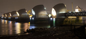 Thames Barrier at Night Panoramic Royalty Free Stock Images