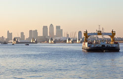The Thames Barrier with O2 Arena and Canary Wharf Royalty Free Stock Photos