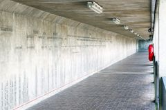 Thames Barrier passageway in London. Part of the Thames Path national trail Stock Photo