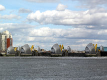 Thames Barrier with it's flood gates closed. The Thames Barrier in operation with it's flood gates closed. The Barrier was built between 1974-82 and is the world Royalty Free Stock Images