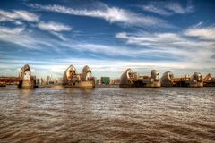 Thames Barrier in Woolwich, London, United Kingdom. London, United Kingdom - June 23, 2018: Thames Barrier in Woolwich, London, United Kingdom viewed from stock photo