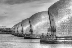 Thames Barrier in Woolwich, London, United Kingdom. London, United Kingdom - June 23, 2018: Thames Barrier in Woolwich, London, United Kingdom viewed from royalty free stock image