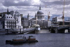 Thames, Blackfriars bridge and St Paul's Stock Photography