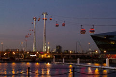 Thames cable car. Night scene in London UK Royalty Free Stock Images