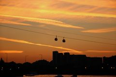 Thames Cable Car over Docklands Stock Photo