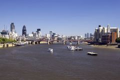 Thames and City with bridge Royalty Free Stock Photography