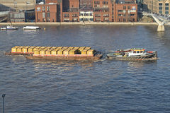 Thames Container Barge Stock Image