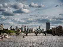 Thames with docklands and the Parliament Stock Image