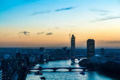 Thames at dusk. River Thames captured at dusk. The image was taken from London Eye Royalty Free Stock Images