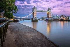 Thames Embankment and Tower Bridge at Sunset, London Stock Image