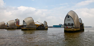 Thames Flood Barrier. As seen from the River Thames Royalty Free Stock Photography