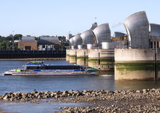 Thames Flood Barrier at Low Tide stock photo
