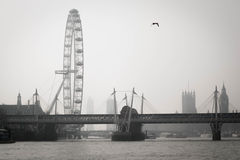 Thames and fog Royalty Free Stock Images