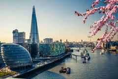 Thames and London City at spring. Aerial view on thames and london city at spring Stock Image