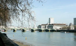 Thames with london eye Royalty Free Stock Image