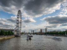 Thames with London Eye and the Parliament Royalty Free Stock Image