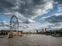 Thames with London Eye and the Parliament Stock Photo