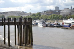 The River Thames City of London Wooden Groin  Stock Photos