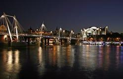 Thames at night. Thames rail bridge at night. Central London royalty free stock photo