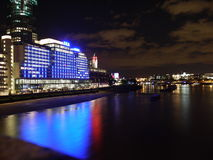 Thames at night. Long exposure of the river thames in london at night Stock Photography