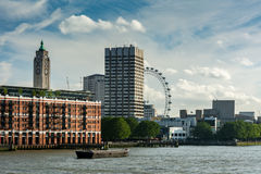 The Thames with Oxo building and the London Eye Stock Images
