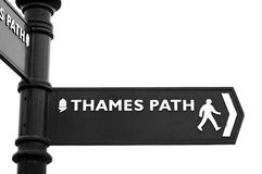 Thames Path sign. Isolated on a white background Royalty Free Stock Photos