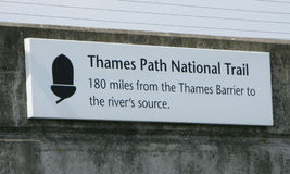 Thames Path sign. A sign proclaiming the start of the Thames Path National Trail Stock Image