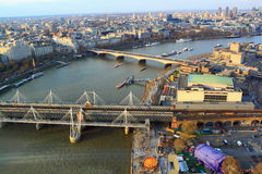 Thames River. Aerial view looking at Thames River from London Eye stock image
