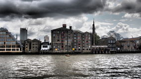 Thames river end overcast, London, UK Stock Photos