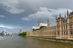 Thames river and Houses of Parliament, Palace of Westminster,  London, England Stock Image