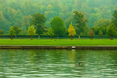 Thames river landscape. Autumn nature. Royalty Free Stock Images
