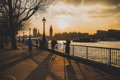 Thames River, London, England at sunset Royalty Free Stock Photography