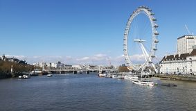 Thames river and the London eye stock image
