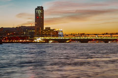 Thames river. London by night. South bank of thames river stock image