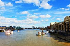 Thames River London panorama United Kingdom. Looking east from the Tower Bridge Road to London Docklands on nice summer day , London,United Kingdom.Photo taken stock image