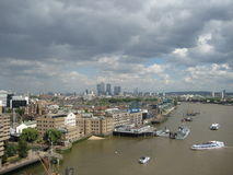 Thames River from Tower Bridge. A scenic view of the Thames River from the famous Tower Bridge, London, England Royalty Free Stock Photos