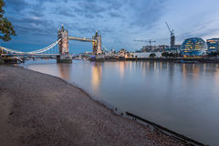 Thames River and Tower Bridge at the Evening, London Royalty Free Stock Photos