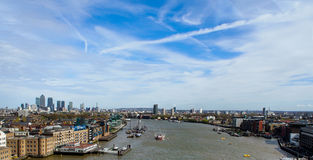 Thames river from the Tower Bridge, London, UK Royalty Free Stock Images