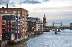 Thames river and Tower bridge at sunset, London, UK Stock Image